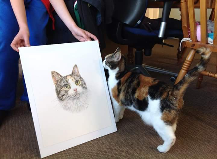 The real Mitzi comes face-to-face with her pencil portrait