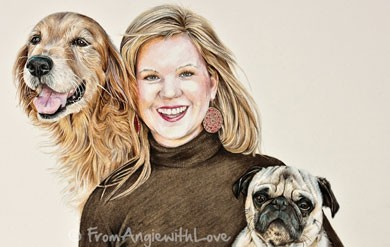 Coloured Pencil Portrait of Tori with Golden Retreiver Casey and Pug Basil, by Angie x