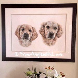 Crumble & Bella - Golden Retriever Pencil Portrait Framed