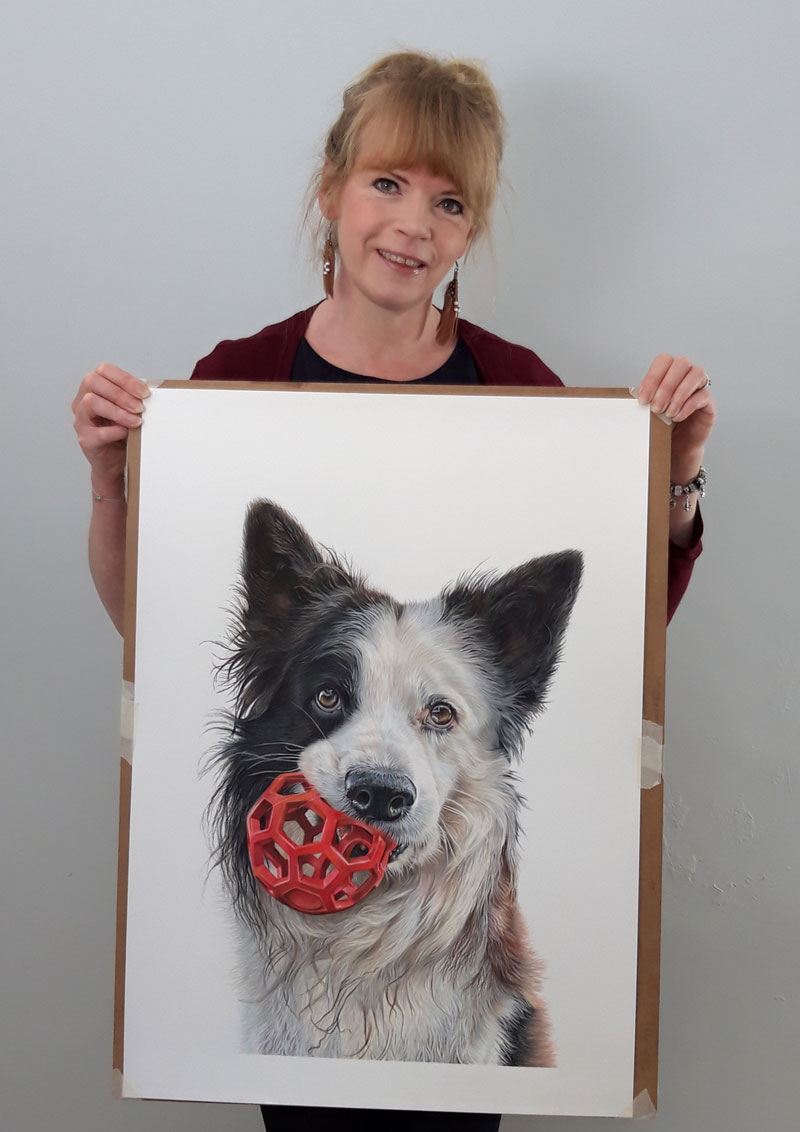 Pet Portrait Artist Angie with Portrait of Border Collie